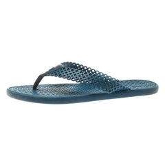 Louis Vuitton Blue Perforated Rubber Tattoo Thong Sandals Size 41