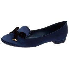 Louis Vuitton Blue Satin Cheri Bow Flats Size 37.5