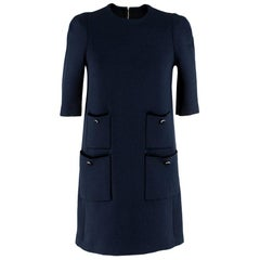 Louis Vuitton Blue Short Sleeve Wool Dress - Size S