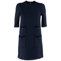 Louis Vuitton Blue Short Sleeve Wool Dress SIZE S