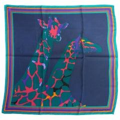 Louis Vuitton Blue Silk Giraffe Design Scarf