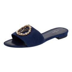 Louis Vuitton Blue Suede Crystal Madeleine Flat Mules Size 37
