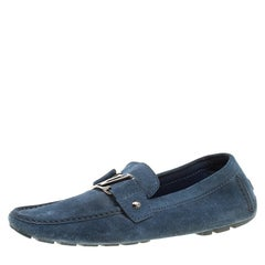 6024e595bb68 Louis Vuitton Blue Canvas and Leather Elba Scrunch Ballet Flats Size ...