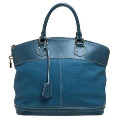 Louis Vuitton Blue Suhali Leather Lockit MM Bag