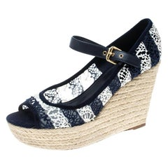 Louis Vuitton Blue/White Fabric Wedge Espadrille Sandals Size 39.5