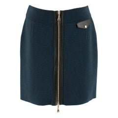 Louis Vuitton Blue Wool Short Zip Front Mini Skirt  SIZE M