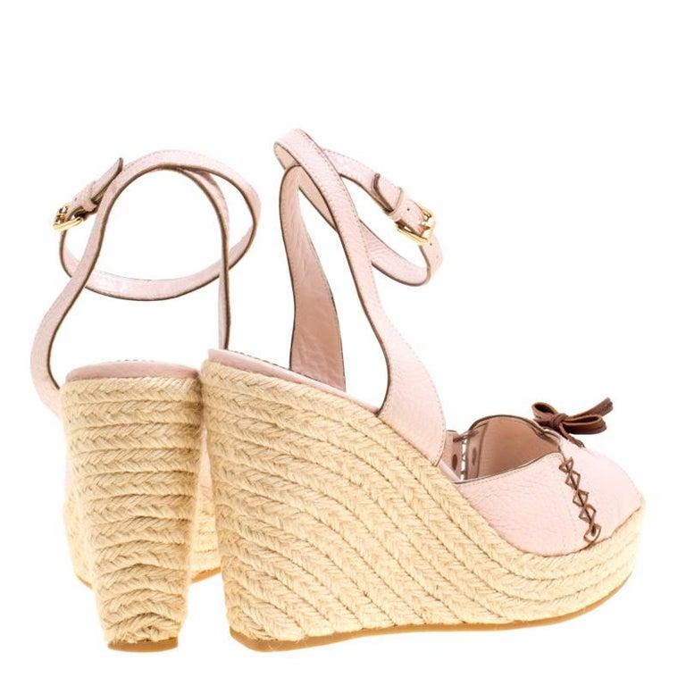 01272deafa76 Beige Louis Vuitton Blush Pink Leather Manyara Ankle Strap Espadrilles  Wedges Sandals For Sale