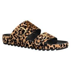 Louis Vuitton Bom Dia Pony-Hair Leopard-Print Mules