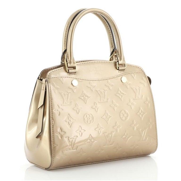 Brown Louis Vuitton Brea NM Handbag Monogram Vernis PM For Sale