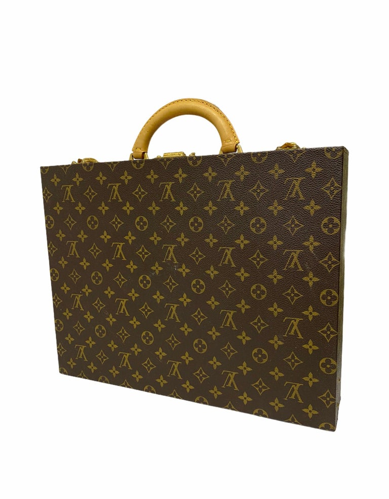 Louis Vuitton Briefcase with Cowhide Inserts And Golden Hardware For Sale 2