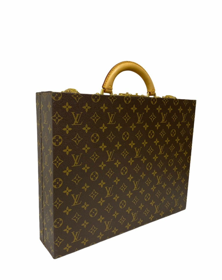 Louis Vuitton Briefcase with Cowhide Inserts And Golden Hardware For Sale 3
