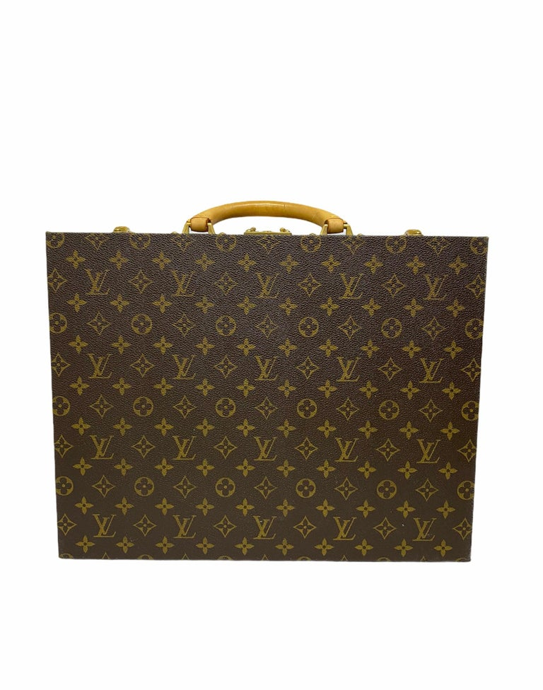 Louis Vuitton Briefcase with Cowhide Inserts And Golden Hardware For Sale 4