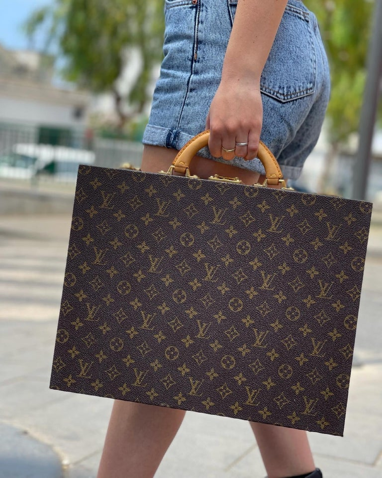 Louis Vuitton Briefcase with Cowhide Inserts And Golden Hardware For Sale 5