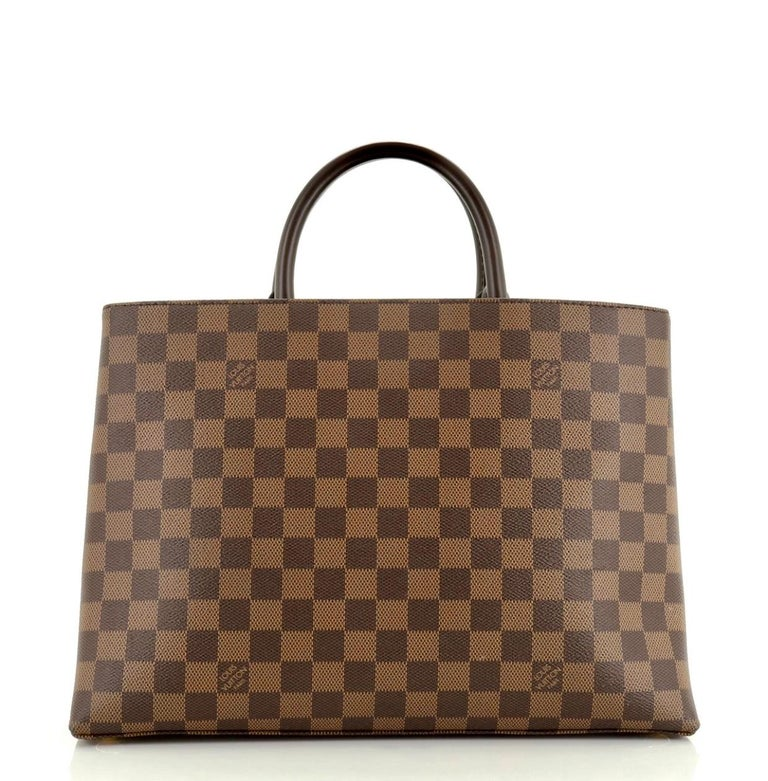 Brown Louis Vuitton Brompton Handbag Damier Ebene Coated Canvas Tote, TR1136, Like New For Sale