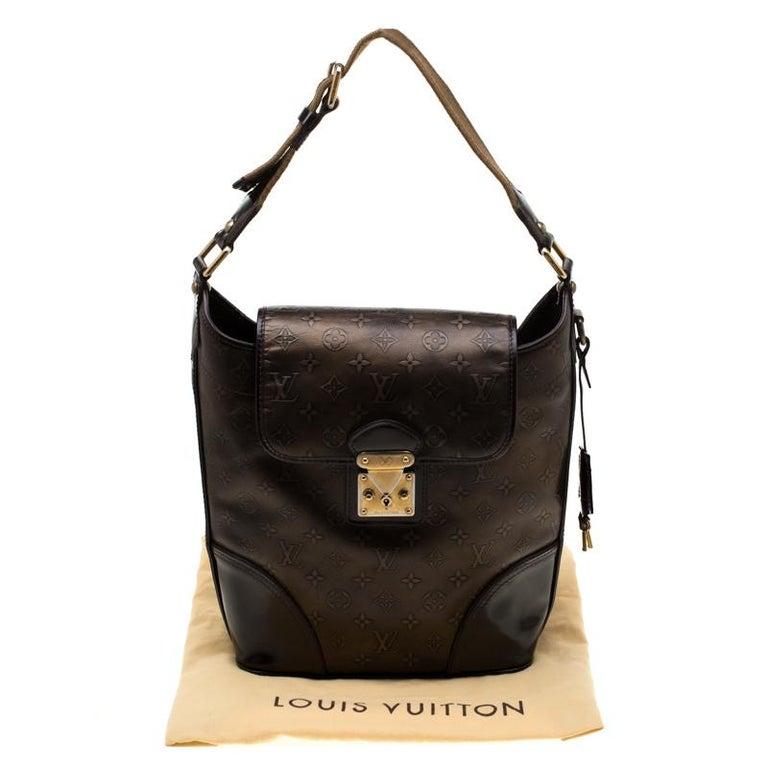 Louis Vuitton Bronze/Dark Brown Monogram Embossed Limited Edition Sergent GM Bag For Sale 6