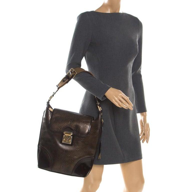 Black Louis Vuitton Bronze/Dark Brown Monogram Embossed Limited Edition Sergent GM Bag For Sale