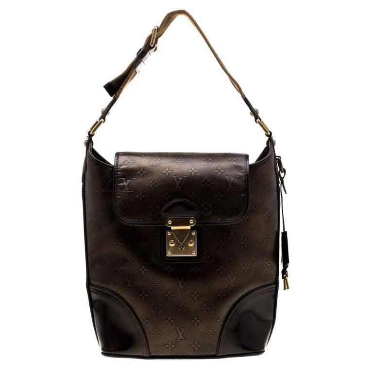 Louis Vuitton Bronze/Dark Brown Monogram Embossed Limited Edition Sergent GM Bag For Sale