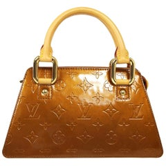 Louis Vuitton Bronze Gold Patent Leather Small Monogram Top Handle Satchel Bag