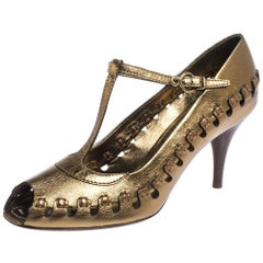 Louis Vuitton Bronze Leather T-Bar Cut Out Peep Toe Pumps Size 38