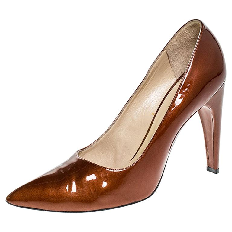 Louis vuitton Bronze Patent Leather Pointed Toe Pumps Size 40.5 For Sale