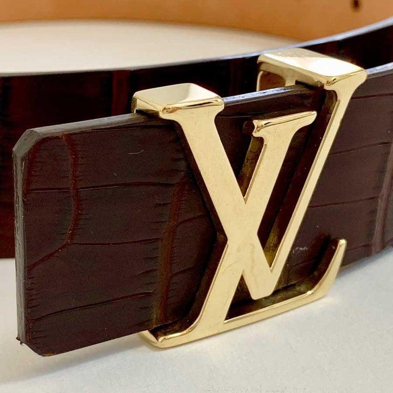 Women's or Men's Louis Vuitton Brown Alligator LV Gold Tone Logo Belt   For Sale