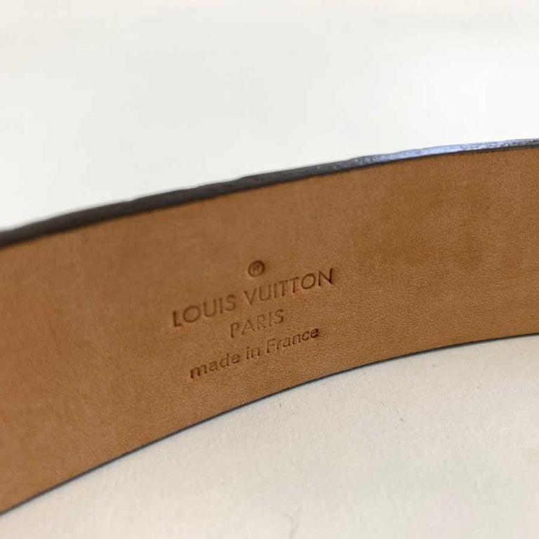 Louis Vuitton Brown Alligator LV Gold Tone Logo Belt   For Sale 2