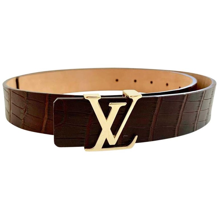 Louis Vuitton Brown Alligator LV Gold Tone Logo Belt   For Sale