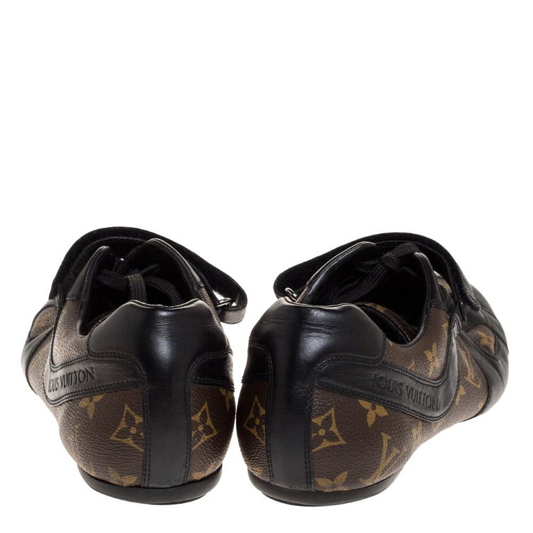 Louis Vuitton Brown/Black Leather And Monogram Canvas Trotter Sneakers Size 40.5 In Fair Condition For Sale In Dubai, Al Qouz 2