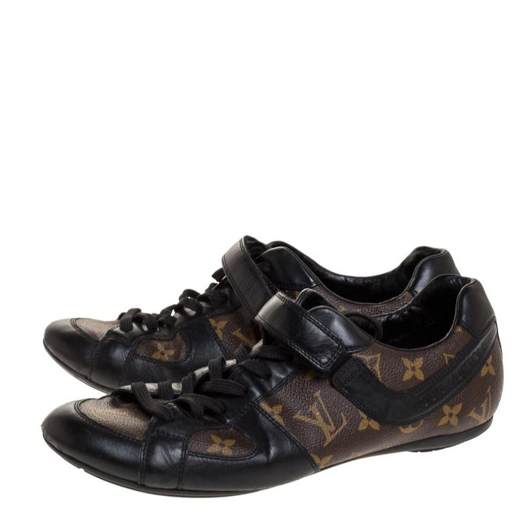 Louis Vuitton Brown/Black Leather And Monogram Canvas Trotter Sneakers Size 40.5 For Sale 1