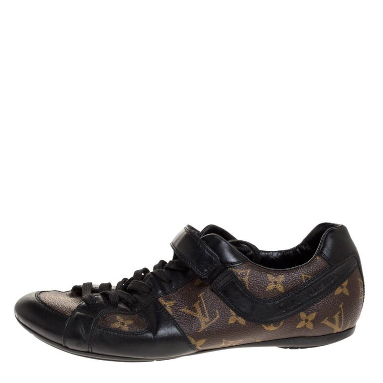 Louis Vuitton Brown/Black Leather And Monogram Canvas Trotter Sneakers Size 40.5 For Sale 2