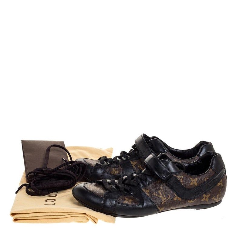 Louis Vuitton Brown/Black Leather And Monogram Canvas Trotter Sneakers Size 40.5 For Sale 3