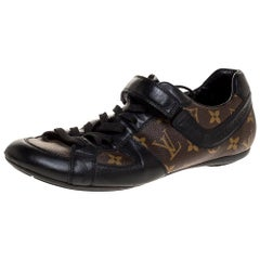 Louis Vuitton Brown/Black Leather And Monogram Canvas Trotter Sneakers Size 40.5