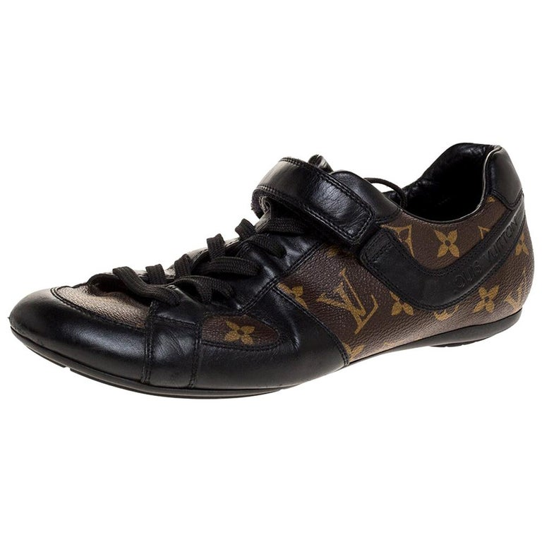 Louis Vuitton Brown/Black Leather And Monogram Canvas Trotter Sneakers Size 40.5 For Sale