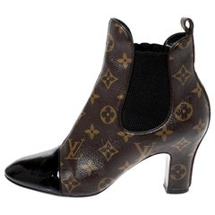 Louis Vuitton Brown/Black Monogram Canvas And Patent Revival Ankle Boots Size 36
