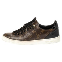 Louis Vuitton Brown/Black Patent Leather Frontrow Low Top  Sneakers Size 40