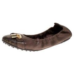 Louis Vuitton Brown Canvas and Calf Leather Scrunch Lucky Ballet Flats Size 39