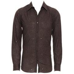 LOUIS VUITTON brown cotton spot LV monogram print slim fit shirt EU39