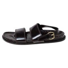 Louis Vuitton Brown Croc Leather Flat Sandals Size 43