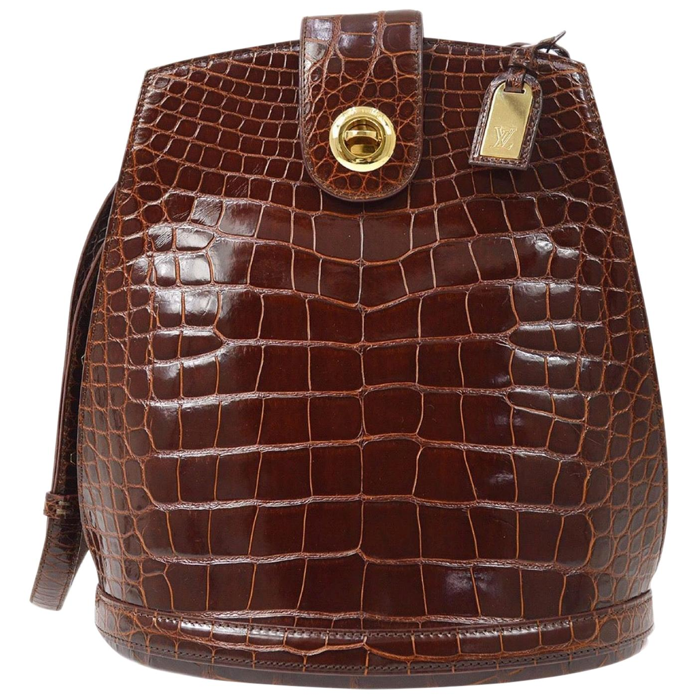 Louis Vuitton Brown Crocodile Leather Exotic Top Handle Shoulder Bucket Bag