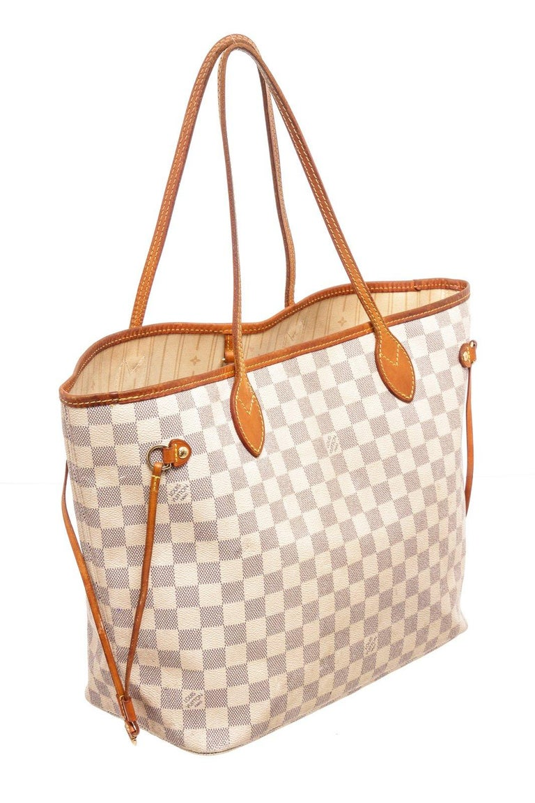 Women's Louis Vuitton Brown Damier Azur Neverfull MM Tote Bag For Sale