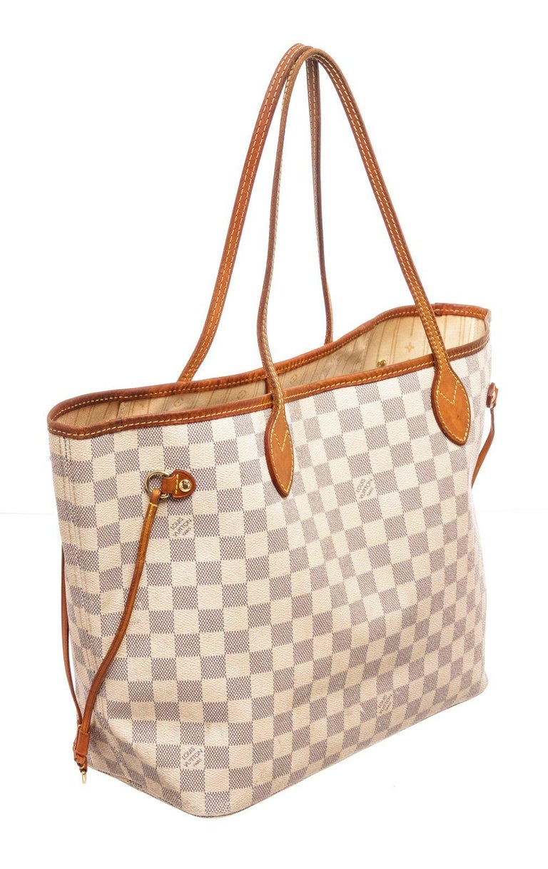 Louis Vuitton Brown Damier Azur Neverfull MM Tote Bag For Sale 2