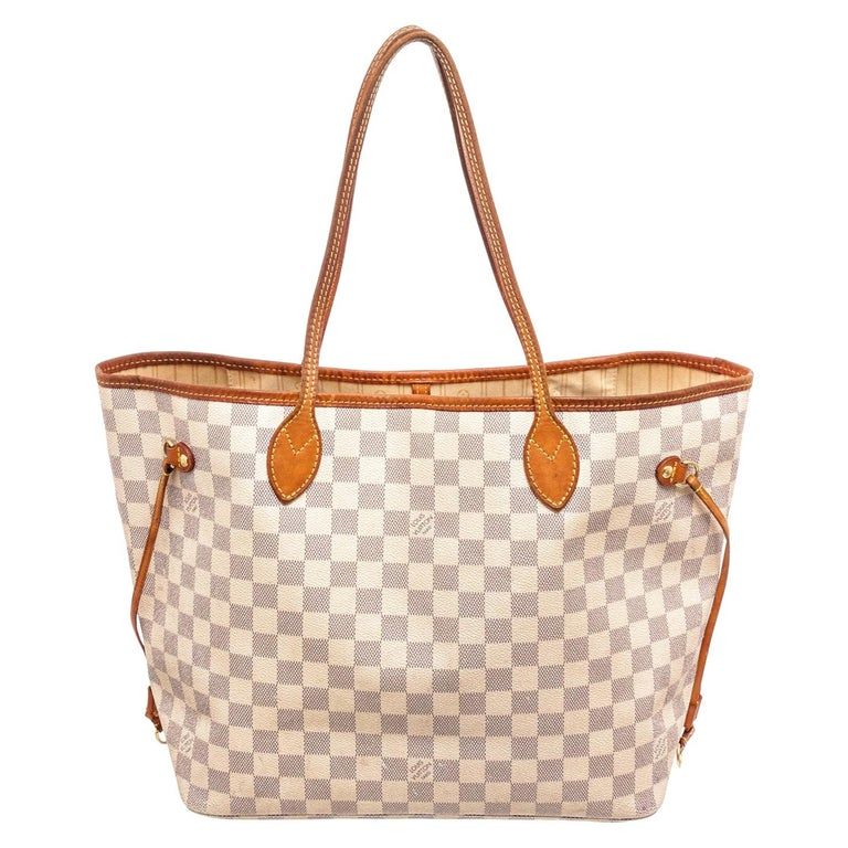 Louis Vuitton Brown Damier Azur Neverfull MM Tote Bag For Sale