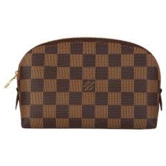 LOUIS VUITTON brown Damier canvas COSMETIC POUCH PM Vanity Case Bag