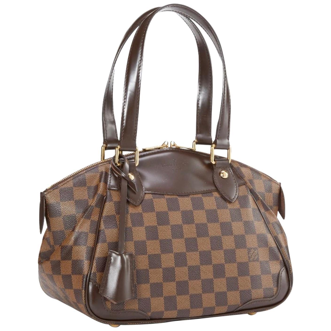Louis Vuitton Brown Damier  Ebene Canvas Verona PM Handbag / Shoulder Bag New