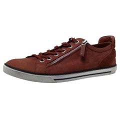 Louis Vuitton Brown Damier Nubuck and Suede Adventure Lace Up Sneakers Size 43.5