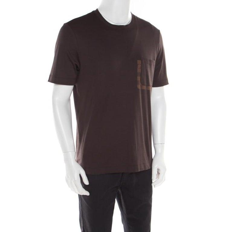 Louis Vuitton Brown Damier Pocket Trim Detail Short Sleeve T-Shirt M In Good Condition For Sale In Dubai, Al Qouz 2