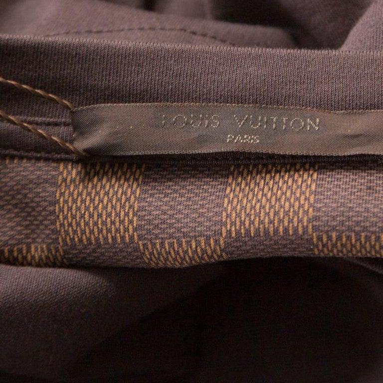Louis Vuitton Brown Damier Pocket Trim Detail Short Sleeve T-Shirt M For Sale 1