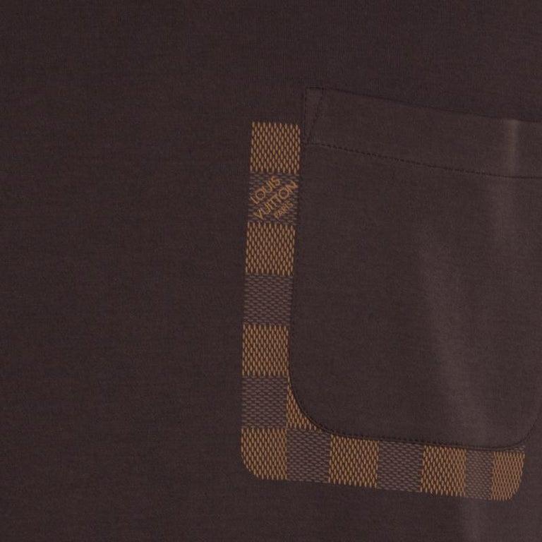 Louis Vuitton Brown Damier Pocket Trim Detail Short Sleeve T-Shirt M For Sale 2