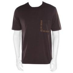 Louis Vuitton Brown Damier Pocket Trim Detail Short Sleeve T-Shirt M