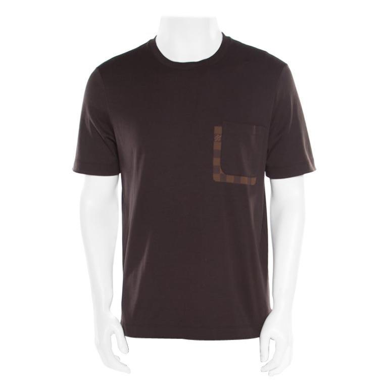 Louis Vuitton Brown Damier Pocket Trim Detail Short Sleeve T-Shirt M For Sale